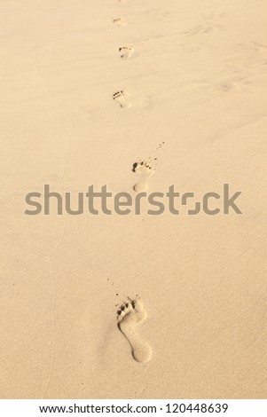 human footsteps at the clean sandy beach