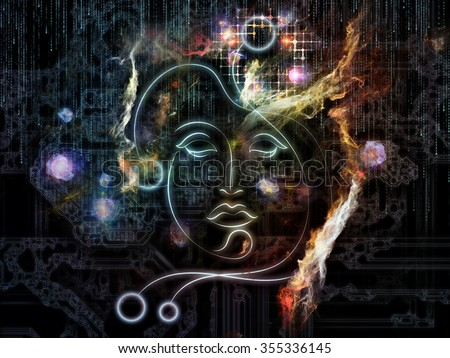 Human Geometry series. Background design of lines of human face, fractal elements and symbols on the subject of science, philosophy, metaphysics and modern technology