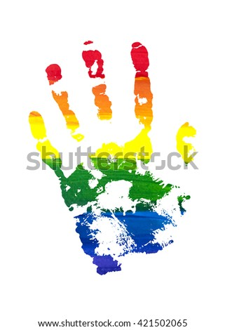 Human grunge rainbow gouache handprint with skin texture isolated on white background. LGBT watercolor sticker. The left palm. Raster copy of vector file.