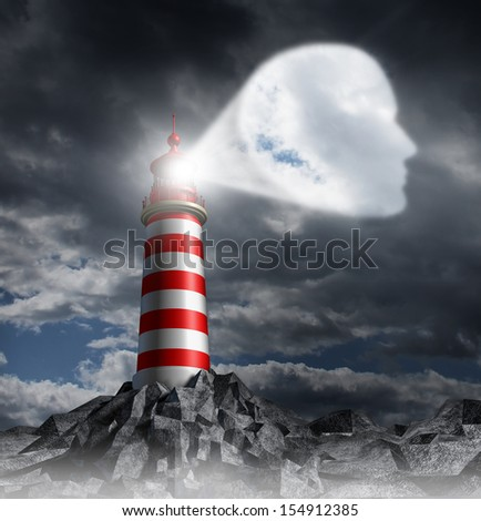 Human Guidance Direction business concept with a lighthouse beacon tower shinning a guiding light shaped as a head on a stormy dark sky as a symbol of vision and focusing on a planned strategy. - stock photo