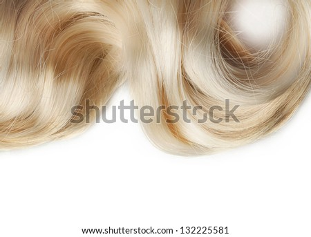 human hair on white background
