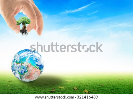 Human hand adding the big plant into the planet on beautiful green meadow and blue sky background. Ecological City World Environment Day Creation from Holy Bible Agriculture Reforestation CSR concept.