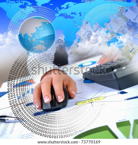 human hand and computer keyboard as symbol of high technology - stock photo