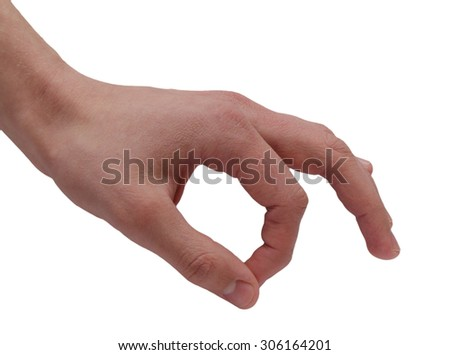 Human hand and fingers showing OK on white background - stock photo