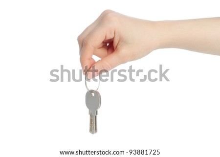 Human hand and keys isolated on white background