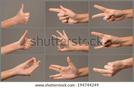 Human Hand collection, different hands, gestures, signals and signs