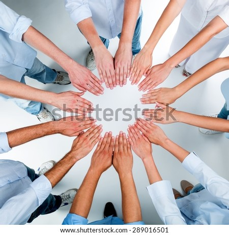 Human Hand, Community, Multi-Ethnic Group. - stock photo