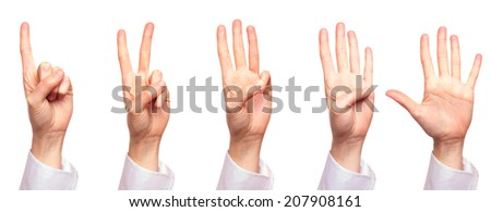 Human hand counting from one to five, isolated on white background - stock photo