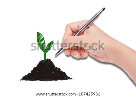 human hand drawing a plante