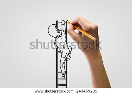 how to draw a person climbing a ladder