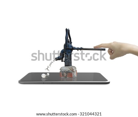 Human hand drawing out light bulbs from retro water pump on smart tablet. - stock photo