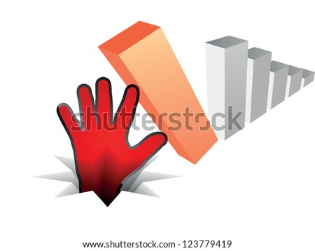 human hand fall off the chart - stock photo