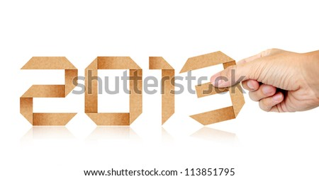 Human Hand Fill Year 2013 Origami Paper isolated - stock photo
