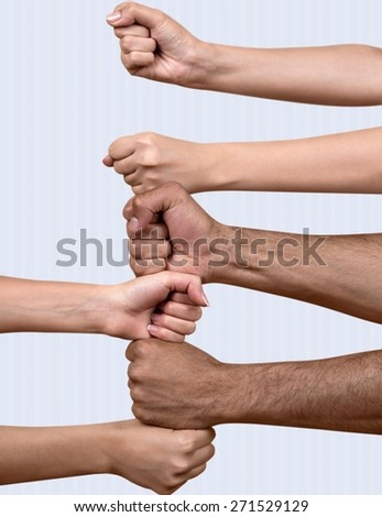 Human Hand. Forming a team - stock photo