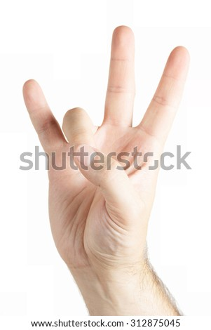 Human hand gesture isolated. East side sign. - stock photo
