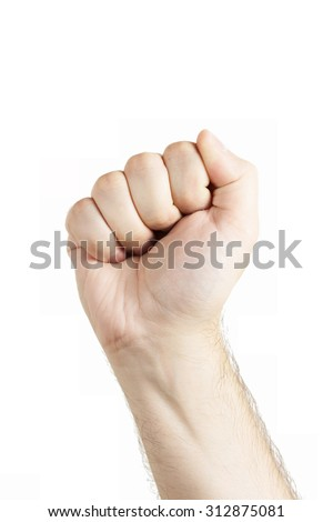 Human hand gesture isolated. Fist. Fight sign. - stock photo
