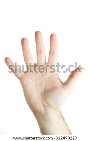 Human hand gesture isolated. Five fingers. Open hand.  - stock photo