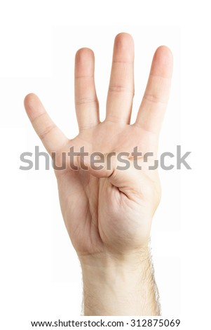 Human hand gesture isolated. Four fingers. Counting.