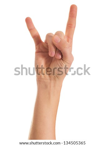 Human Hand Gesturing Hand Sign On White Background - stock photo