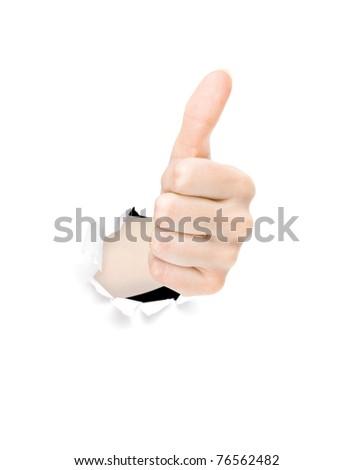 Human hand gesturing thumbs up - stock photo