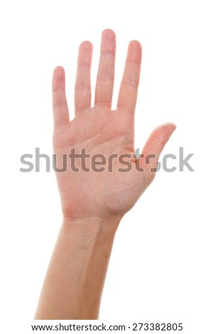 Human Hand, Hand Raised, Isolated. - stock photo
