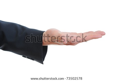 human hand held up. Isolated on white background