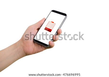 human hand hold smartphone, tablet, cell phone with virtual low battery status icon on screen and isolated white background.