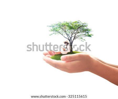 Human hand holding a beautiful asian girl reading a book under big tree on green meadow isolated on white background. International Day of the Girl Childconcept. - stock photo