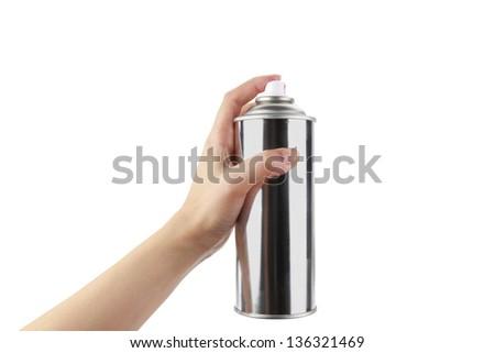 Human hand holding a graffiti Spray can - stock photo