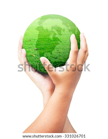 Human hand holding a green earth globe of grass isolated on white background. Investment, Ecology, World Environment Day, Corporate Social Responsibility (CSR) concept. - stock photo