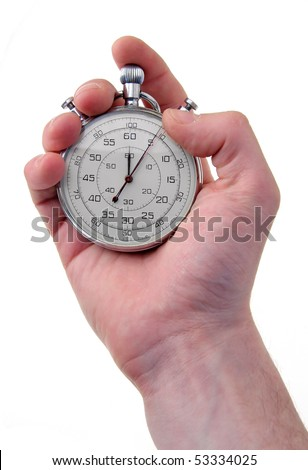 human hand holding a stainless stop-watch, isolated on white background - stock photo
