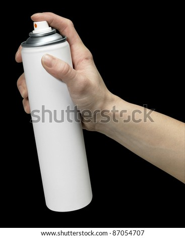 human hand holding a unlabeled aerosol can, Studio shot in black back