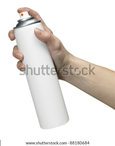 human hand holding a unlabeled aerosol can, Studio shot in white back - stock photo