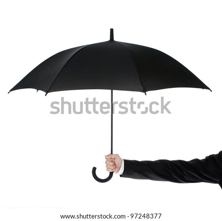 Human hand holding an umbrella isolated on white background - stock photo