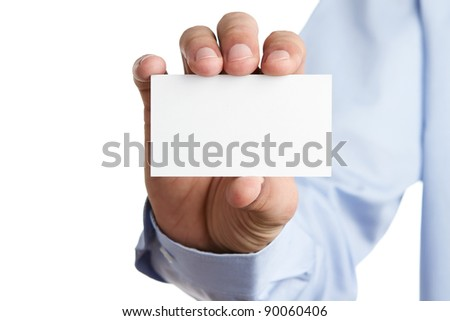Human hand holding blank business card with copy space - stock photo