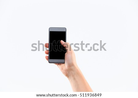 Human hand holding blank large mobile smart phone isolated on white