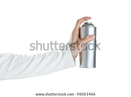 Human hand holding blank spray paint can isolated on white - stock photo