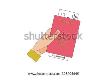 Human Hand Holding Boarding Pass and Passport. - stock photo
