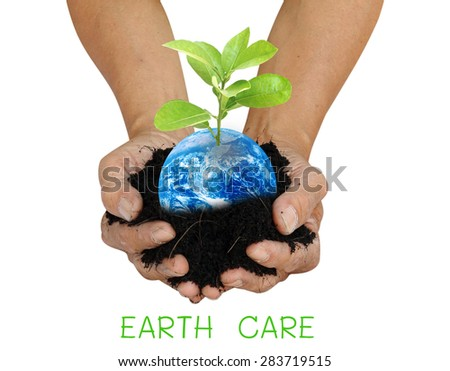 Human hand holding global in soil with little green tree for EARTH CARE on world environment day Elements of this image furnished by NASA - stock photo