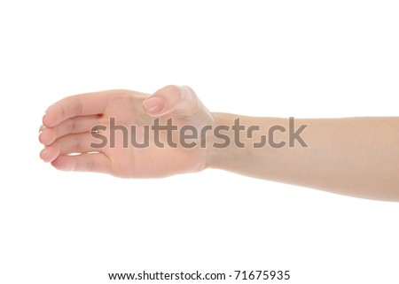 Human hand holding invisible bottle. Isolated on white background - stock photo
