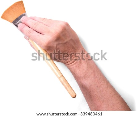 Human Hand Holding Paintbrush - Isolated