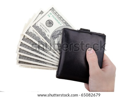 Human hand holding paper dollar currency in wallet