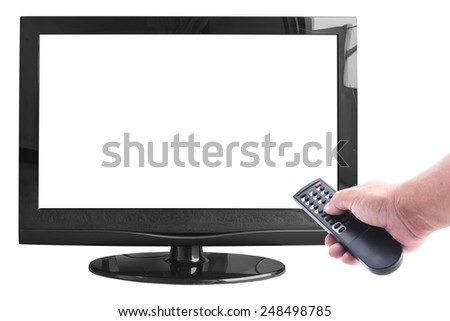 Human hand holding remote and empty monitor isolated on white. - stock photo
