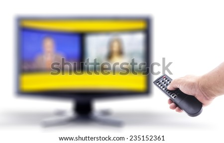 Human hand holding remote and out of focus TV LCD monitor isolated on white. - stock photo