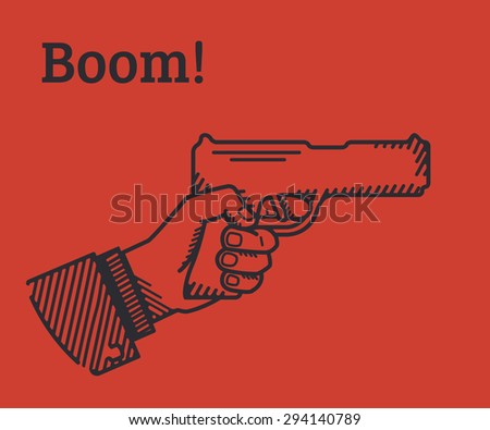 Human hand holds a gun. Conceptual stylish illustration on red background - stock photo
