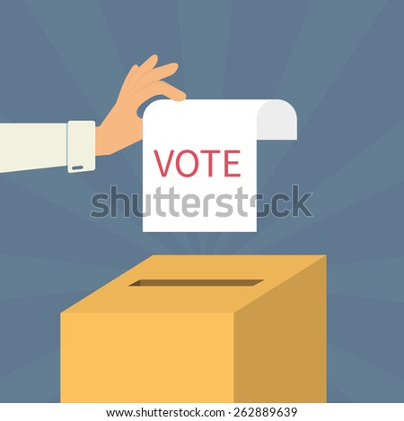 Human hand holds a voting paper over container - stock photo