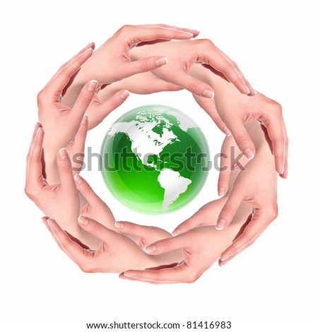 human hand in a circle and symbol of our planet
