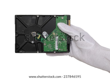 Human hand in glove hold hard disc, isolated on white - stock photo