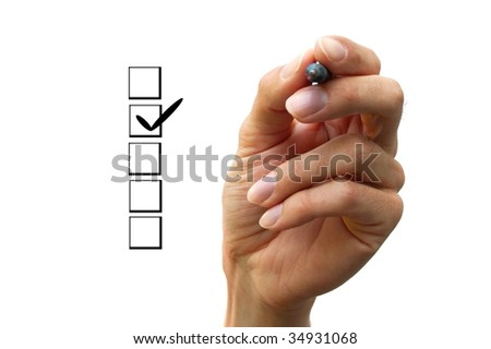 Human hand is choosing between different options. - stock photo