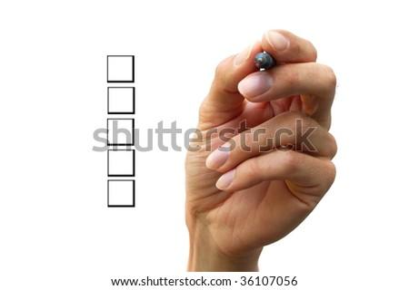 Human hand is choosing between different options. - stock photo